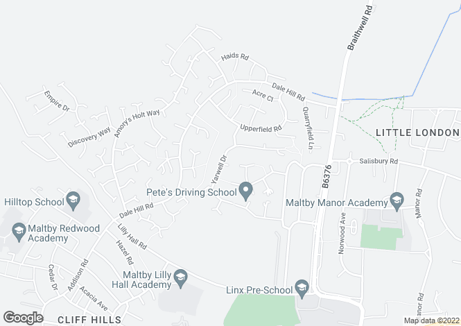Map for Yarwell Drive, Maltby, Rotherham, S66