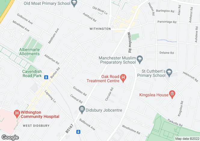 Map for Palatine Road, Withington, Manchester