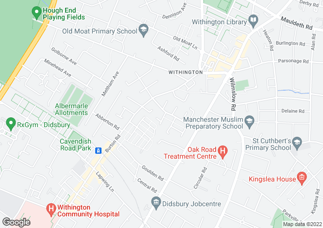 Map for Everett Road, Withington, Manchester, M20 3EA