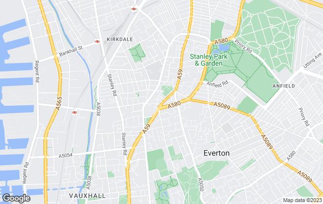 Map for Riverside, Riverside Mersey North