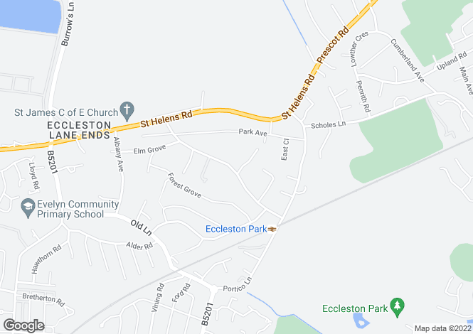 Map for Central Avenue, Eccleston Park, Prescot, L34