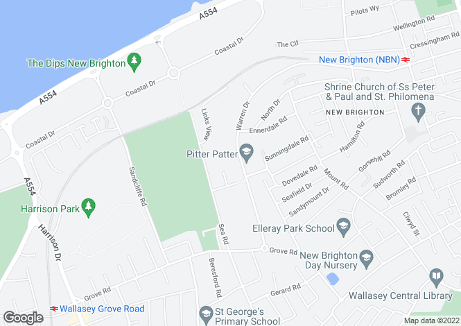 Map for Warren Drive, Wallasey, Wirral