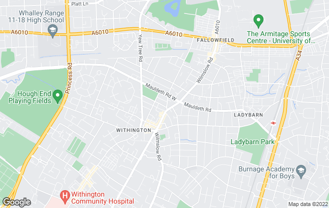 Map for Jordan Fishwick, Withington