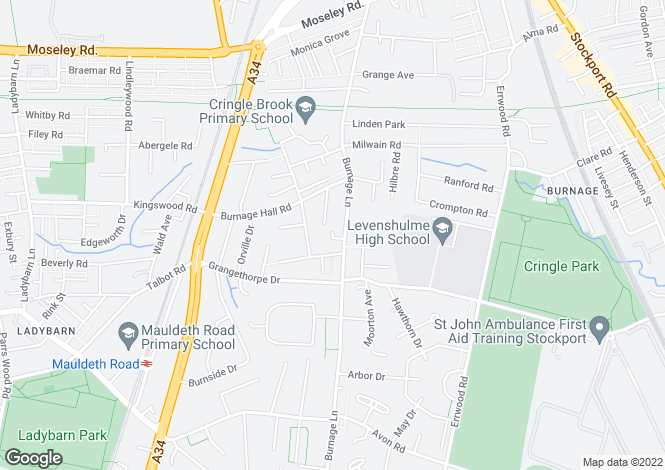 Map for Burnage Lane, Manchester, M19
