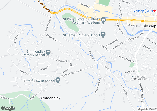 Map for Peaknaze Close, Simmondley, Glossop, Derbyshire