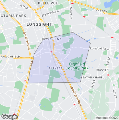 Map of property in Levenshulme