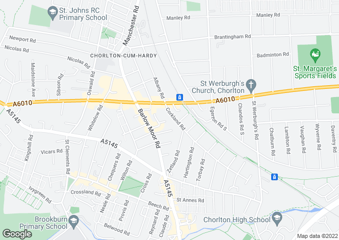 Map for Corkland Road, Chorlton, Manchester