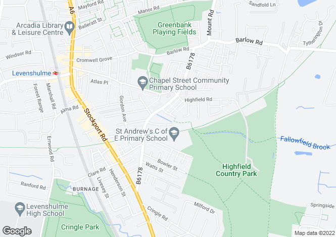 Map for Cranage Road, Levenshulme, Manchester, M19