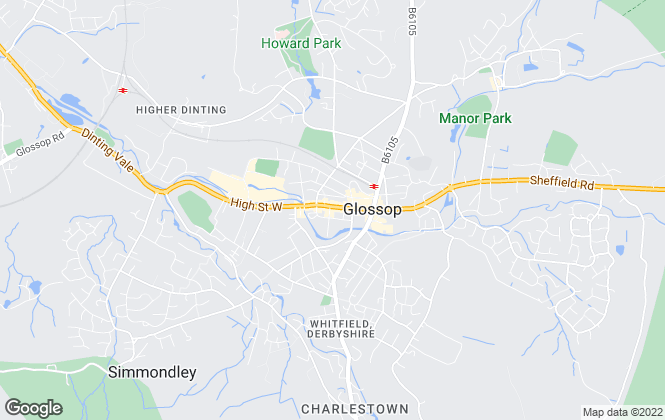Map for Northwood, Glossop