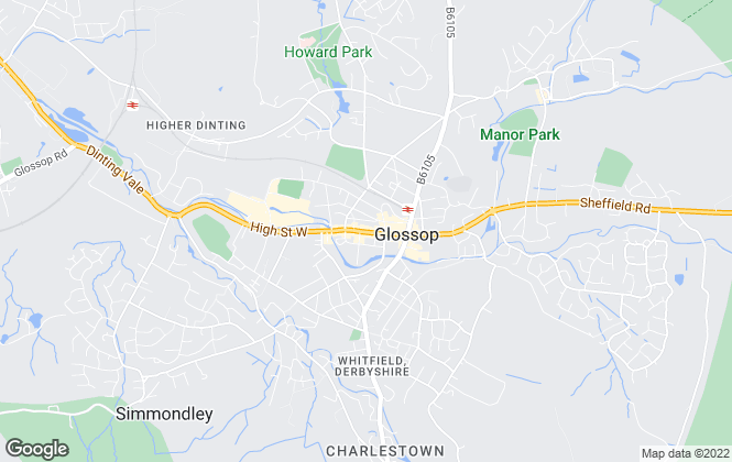 Map for Rowcliffes Estate Agents, Glossop