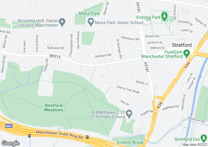 Map for Sandy Lane, Stretford