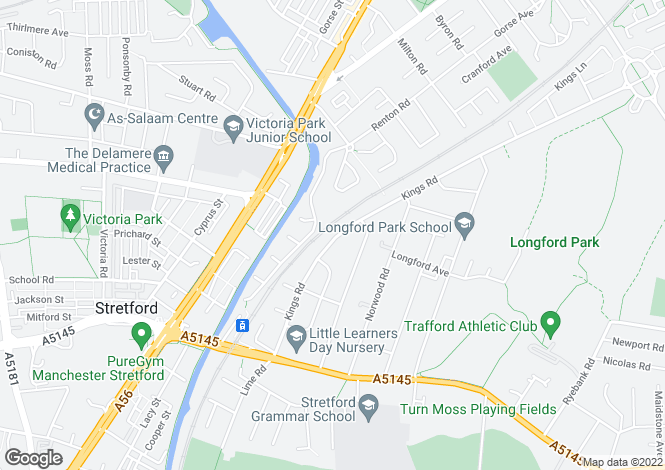 Map for Kings Road, Stretford, Manchester M32