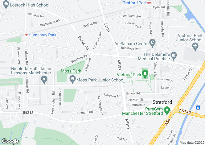 Map for Barton Road, Stretford, Manchester