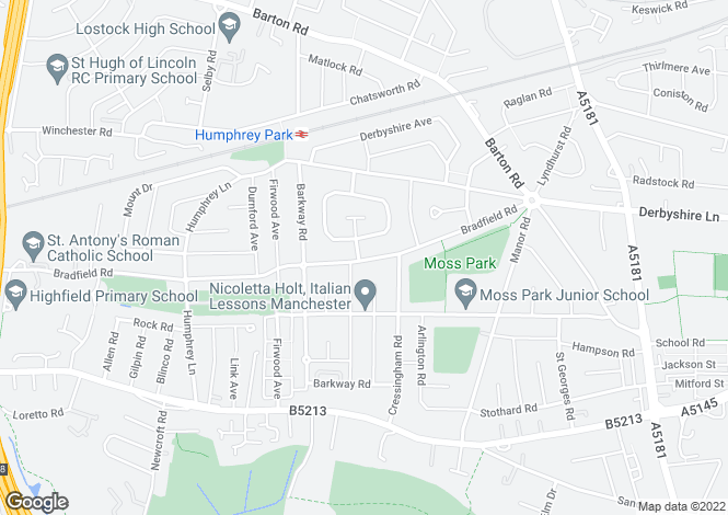 Map for Bradfield Road,