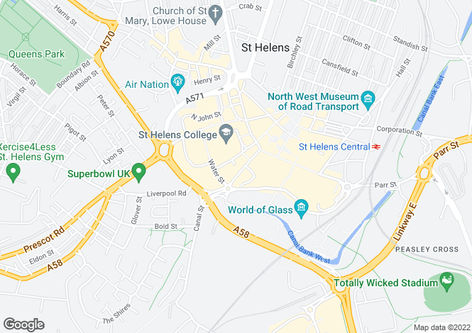 Map for 54/58, Bridge Street, St Helens, WA10 1NW