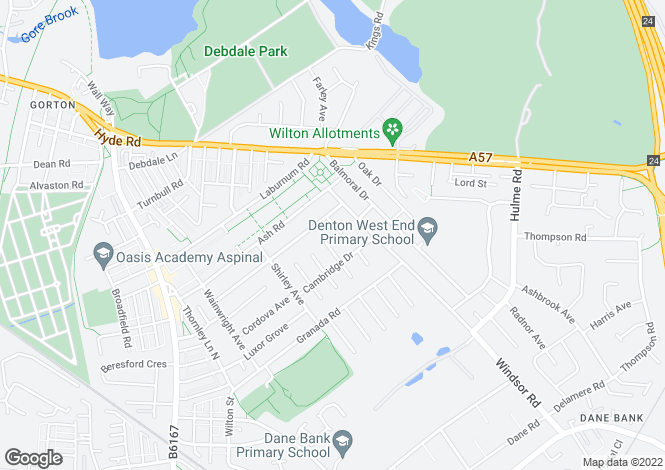 Map for Sandringham Avenue, Denton, Manchester M34
