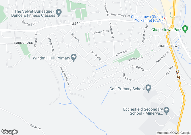 Map for Bevan Way, Chapeltown, Sheffield