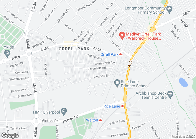 Map for Devonfield Road, Orrell Park, Liverpool, Merseyside
