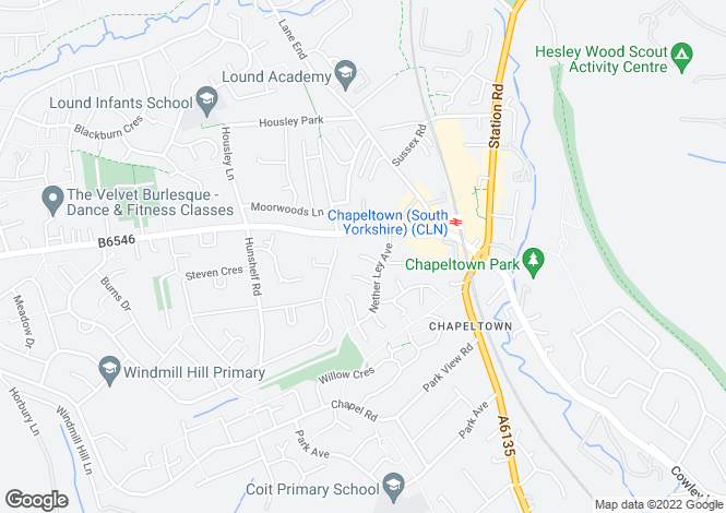 Map for Nether Ley Court, Chapeltown, Chapeltown