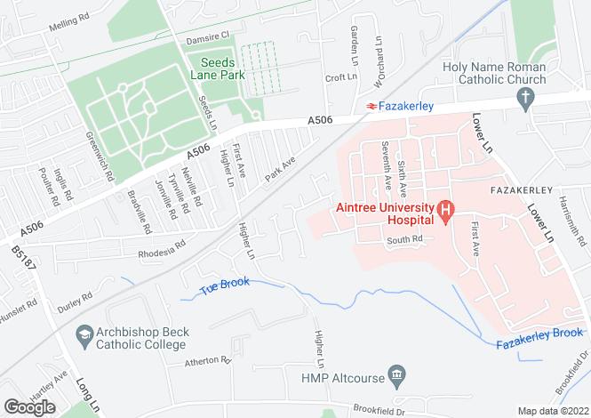 Map for Whitewood Park, Fazakerley
