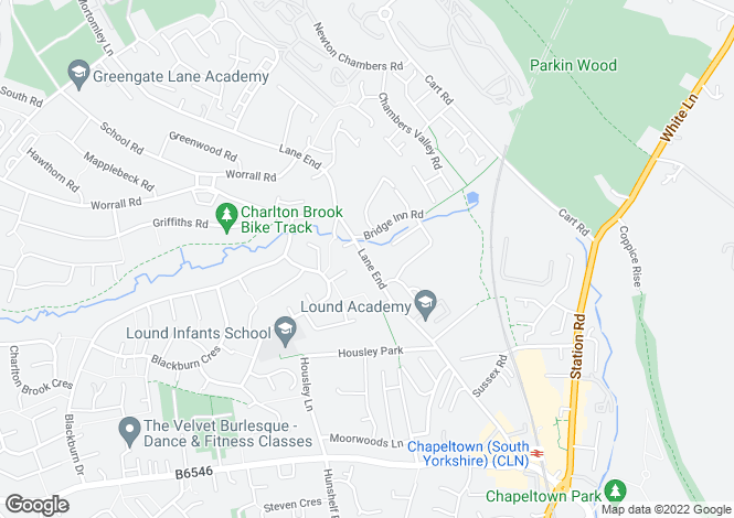 Map for Lane End, Chapeltown, Sheffield