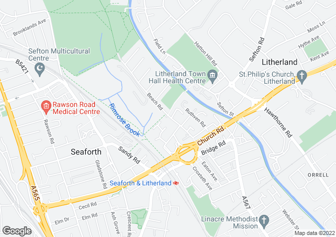 Map for Beach Road, Litherland, Liverpool, L21 2NE