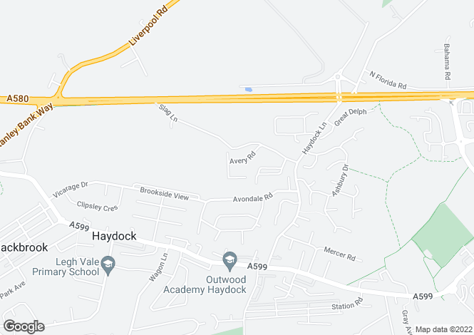 Map for Avery Road, Haydock, St. Helens, Merseyside, WA11