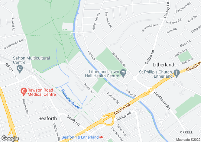Map for Field Lane Litherland L21