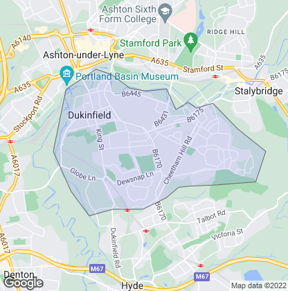 Map of property in Dukinfield