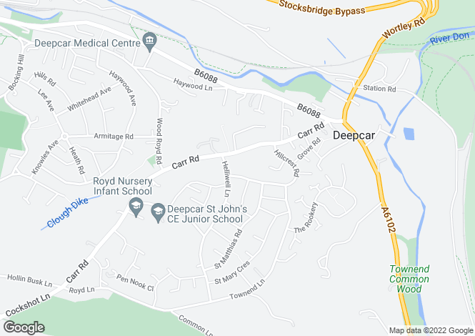 Map for Helliwell Croft, Deepcar, Sheffield, S36 2SR