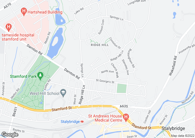 Map for Ridge Hill Lane, Stalybridge