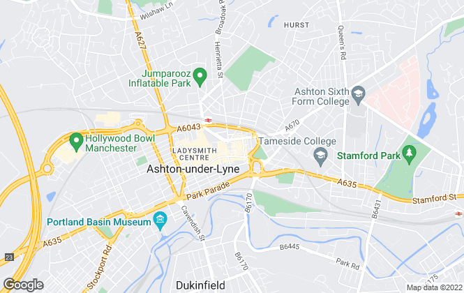 Map for Bridgfords, Ashton-Under-Lyne