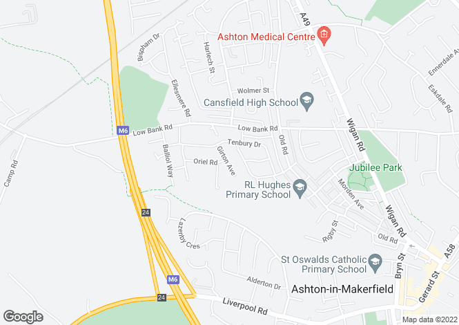 Map for Girton Avenue, Ashton In Makerfield, WN4