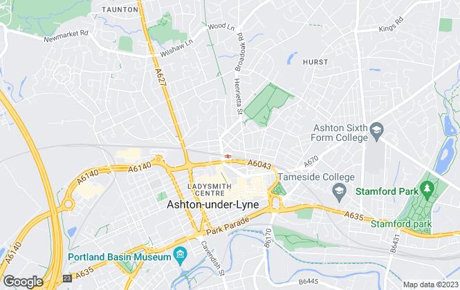 Map for te lettings, Ashton-Under-Lyne