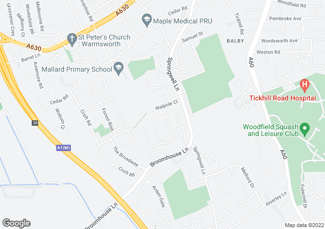 Map for Walpole Close, DONCASTER, South Yorkshire