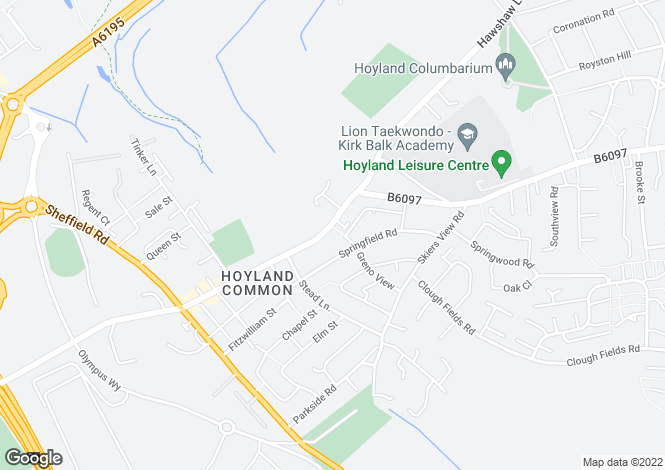 Map for Hoyland Road, Hoyland Common, Barnsley, S74