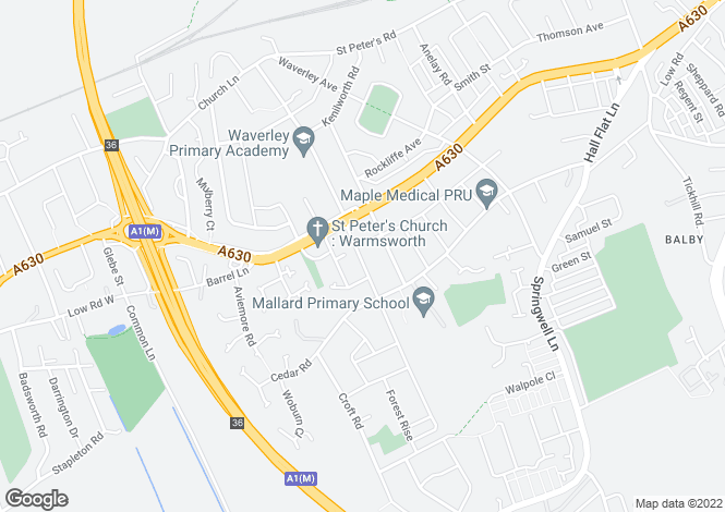 Map for Grenville Road, Balby, Doncaster DN4