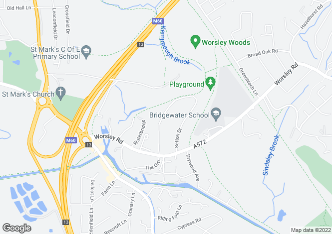 Map for Woodstock Drive, Worsley
