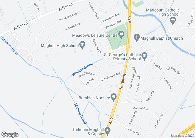 Map for Liverpool Road South, Maghull