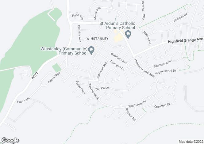 Map for Petworth Avenue, Winstanley, Lancashire