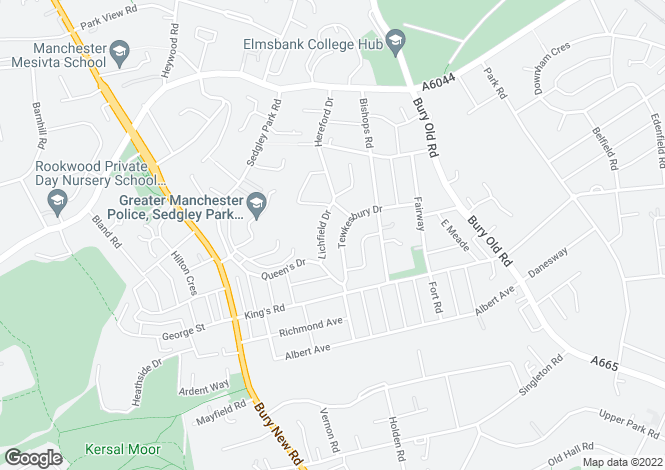 Map for Tewksbury Drive, Manchester