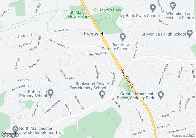 Map for Barnhill Road, Manchester