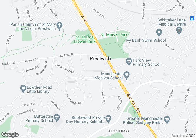 Map for Prestwich Park Road South, Manchester, M25 2PE