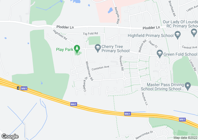 Map for Coniston Avenue, Farnworth, Bolton, BL4