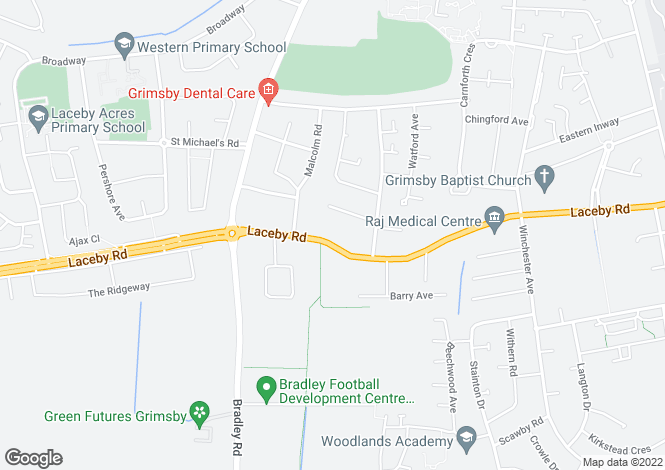 Map for Laceby Road, Grimsby