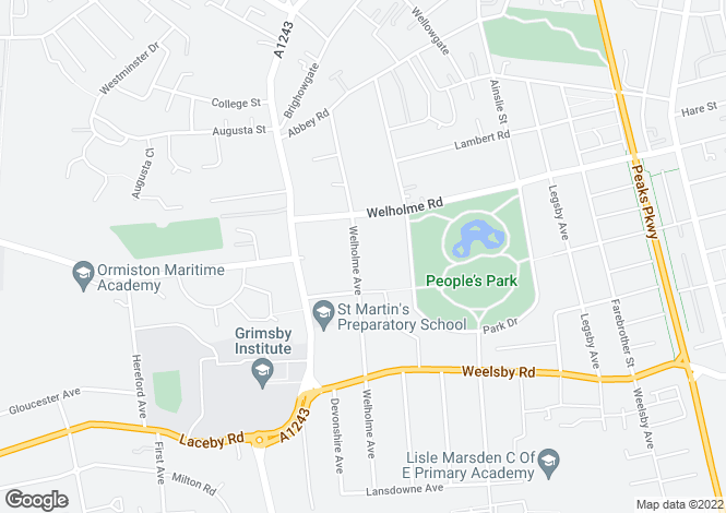 Map for Welholme Avenue, Grimsby, DN32