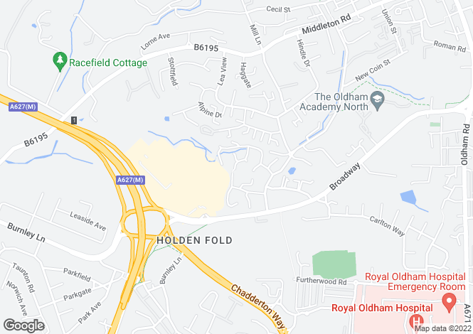 Map for Brackenwood Close, Royton, Oldham