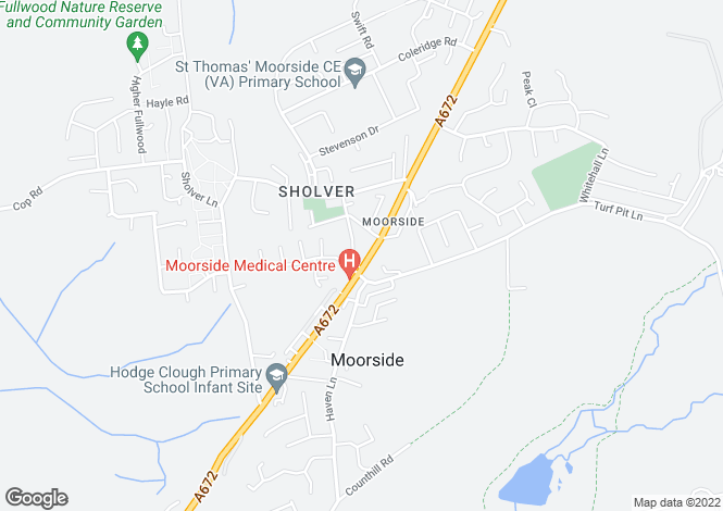 Map for Ripponden Road, Moorside, Moorside, Oldham
