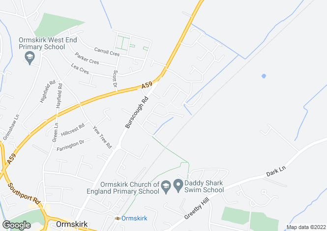 Map for Pine Avenue, Ormskirk, L39