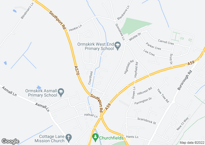 Map for Fairfield Drive, Ormskirk